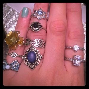 9 Silver Rings Mix n Matched 5/6/7